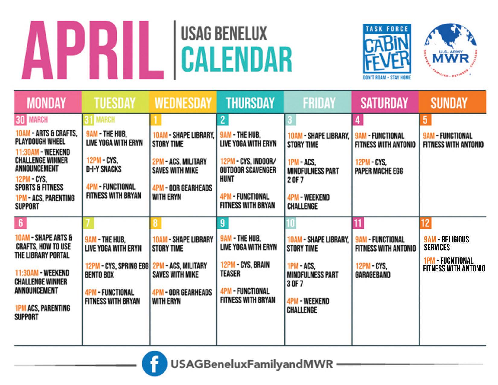 USAG Benelux Task Force Cabin Fever Activity Schedule